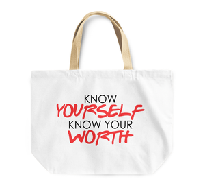 Tote Bag Know Your Self Know Your Worth Motivational Inspirational Quote Reusable Shopping Bag By Loud Universe