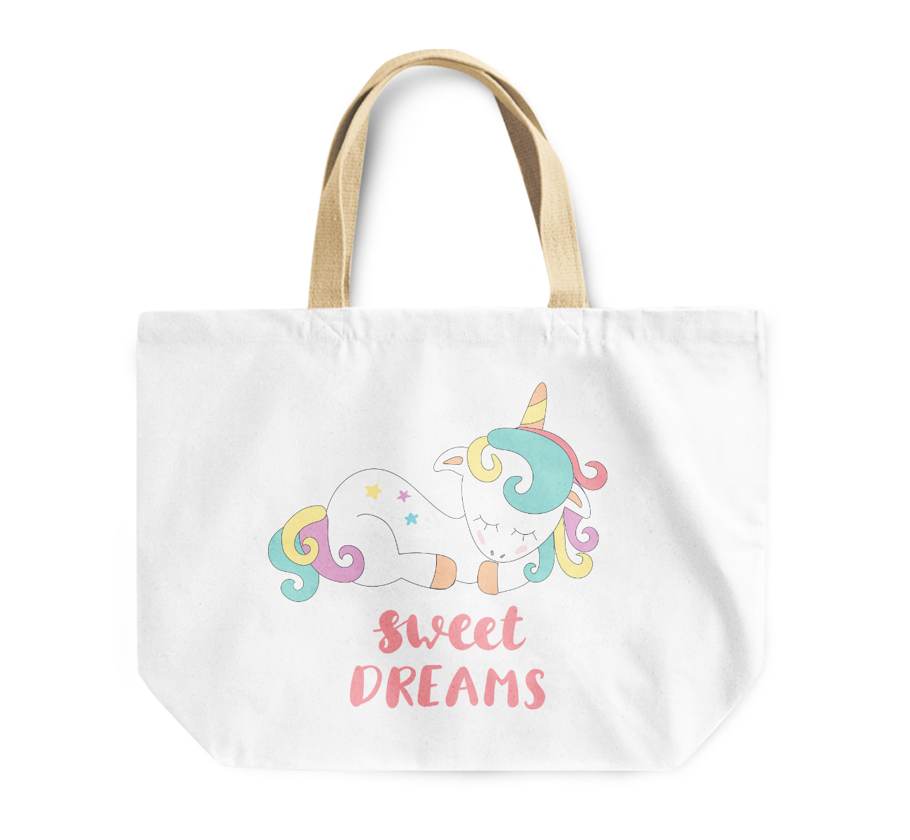 Tote Bag Sweet Dreams Colorful Rainbow Unicorn Reusable Shopping Bag By Loud Universe