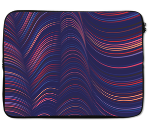 Laptops Tablet Sleeves Hazey Fabric Waves Pattern Premium Quality Neoprene Laptop Protection