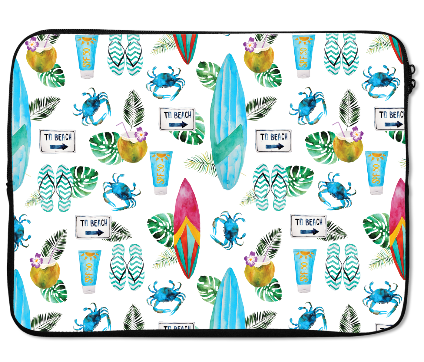 Laptops Tablet Sleeves Surf Board Crabs Beach Summer Pattern Premium Quality Neoprene Laptop Protection