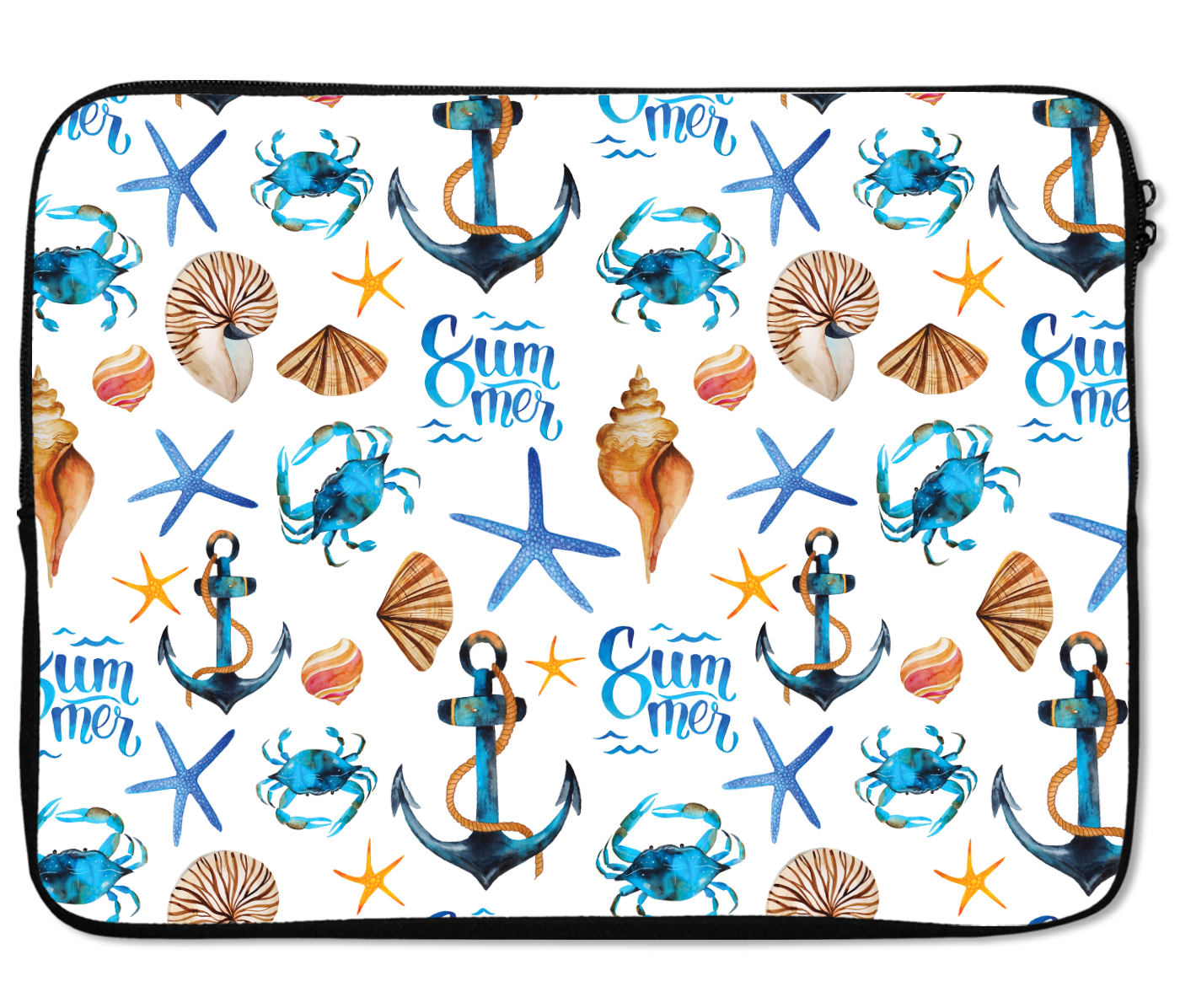 Laptops Tablet Sleeves Sea Life Star Fish Ship Anchor Nautical Beach Summer Pattern Premium Quality Neoprene Laptop Protection