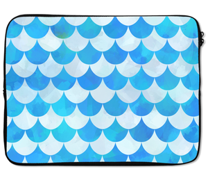 Laptops Tablet Sleeves Pretty Blue Fan Pattern Blue Fish Scales Premium Quality Neoprene Laptop Protection