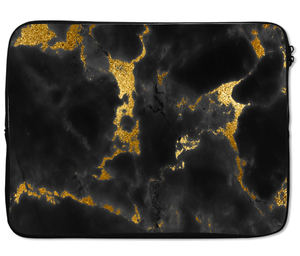 Laptops Tablet Sleeves Chic Black Golden Marble Print Premium Quality Neoprene Laptop Protection