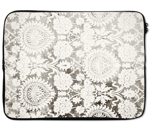 Laptops Tablet Sleeves Unique Damask Floral Pattern Vintage Effect Premium Quality Neoprene Laptop Protection
