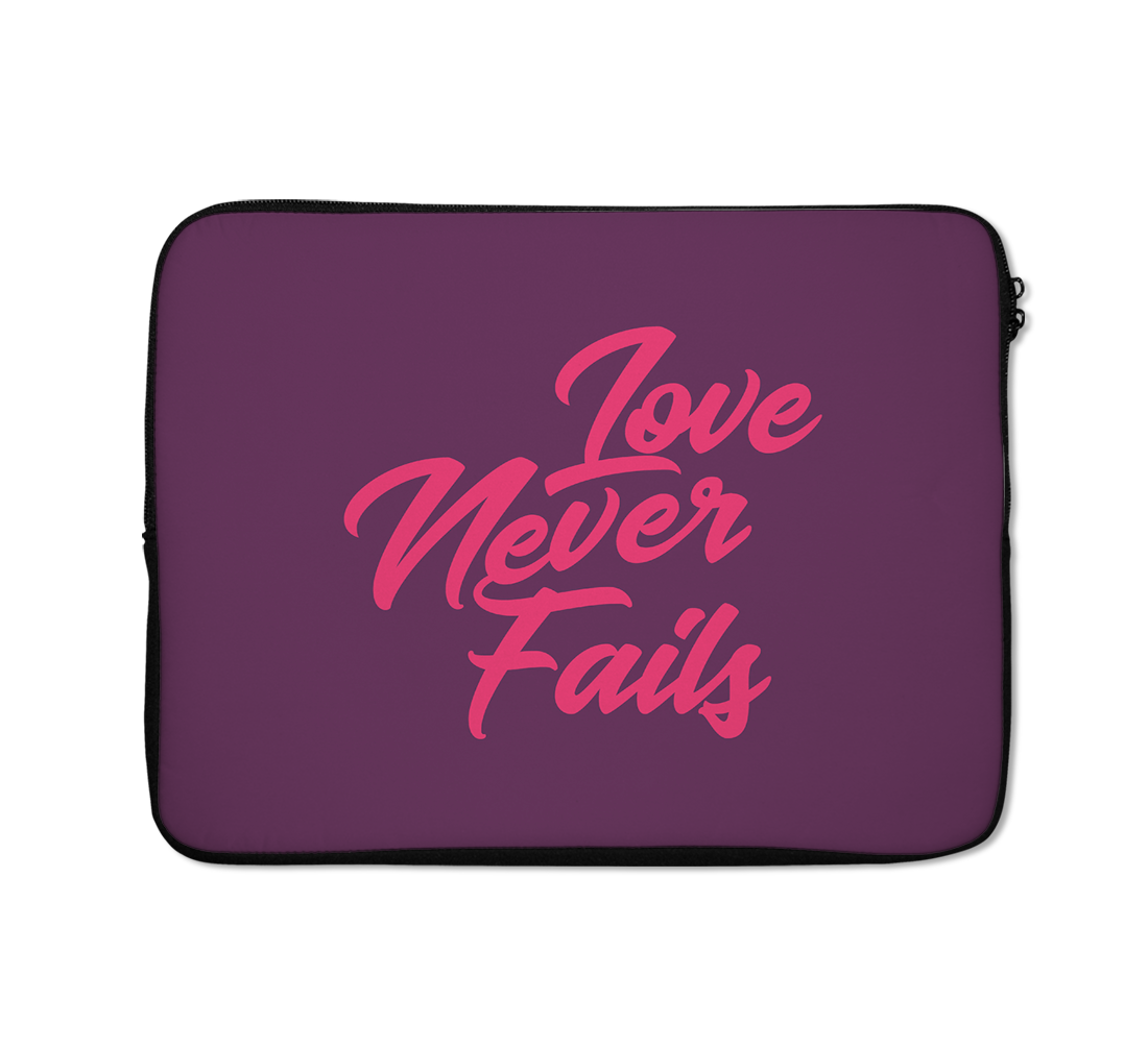 Laptop Sleeves Love Never Fails Couples Girly Pink
