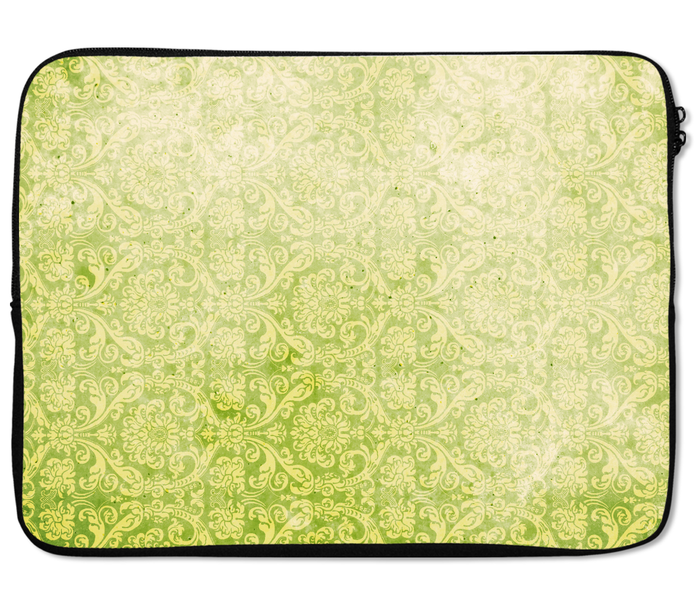 Laptops Tablet Sleeves Lime Green Vintage Damask Pattern Premium Quality Neoprene Laptop Protection
