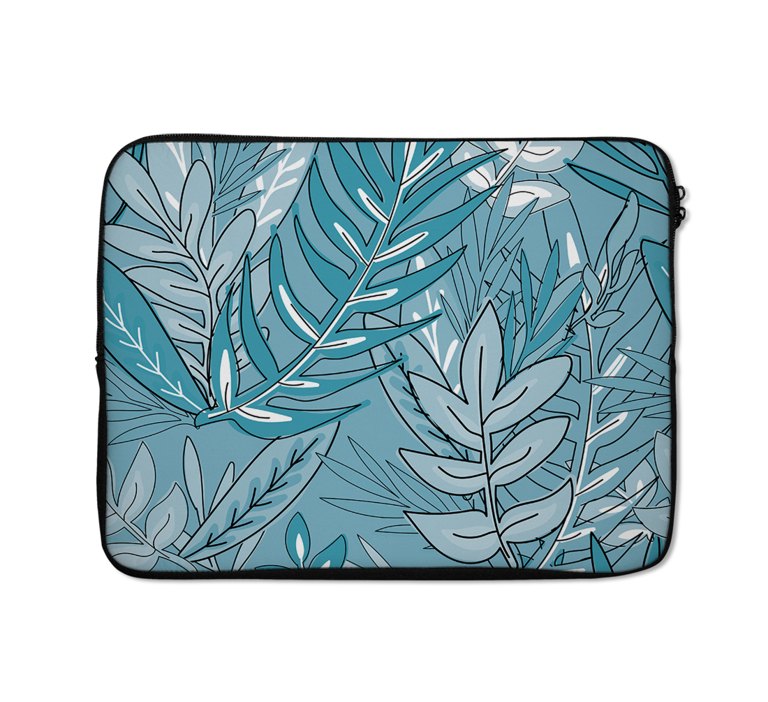 Jungle Laptop Sleeves Pattern Leafy Laptop Sleeves Blues Laptop Sleeves 13 inch