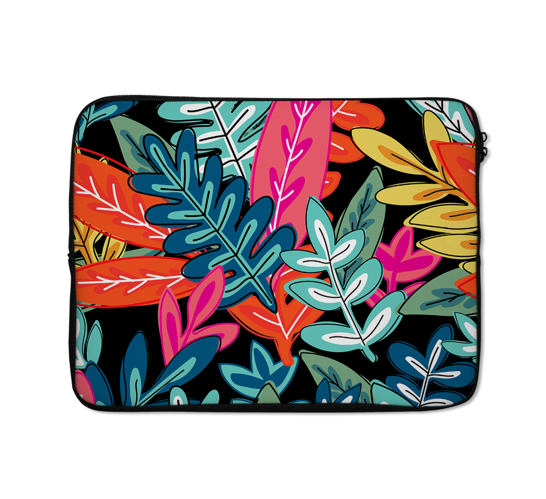 Jungle Laptop Sleeves Pattern Dark Tone Leafy Laptop Sleeves Leaf Laptop Sleeves 13 inch