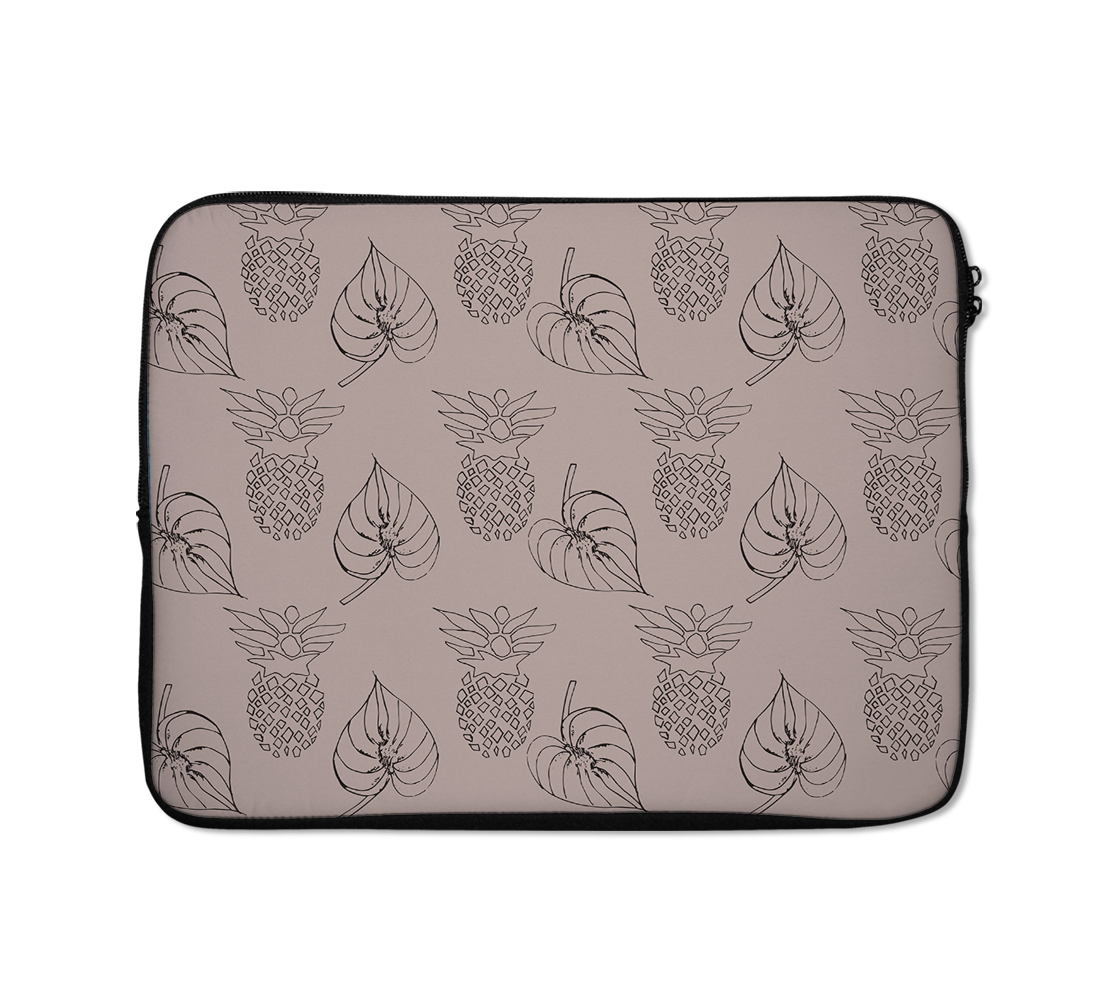 Linear Pineapple And Leafy Laptop Sleeves 13 inch