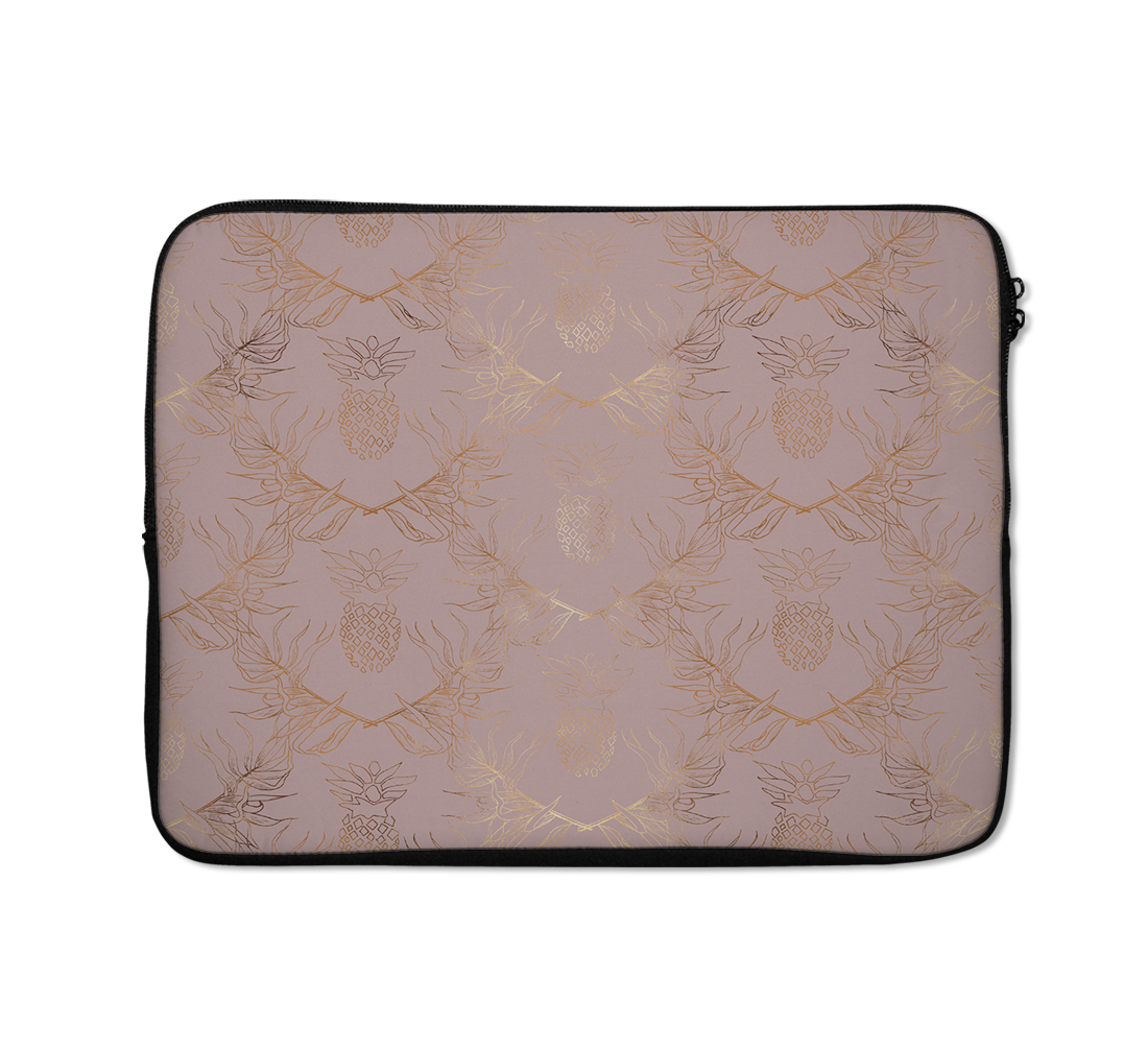 Beige Laptop Sleeves Linear Style Gold Laptop Sleeves 13 inch