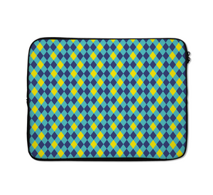 Geometry Architectural Laptop Sleeves Blue And Green And Yellow
