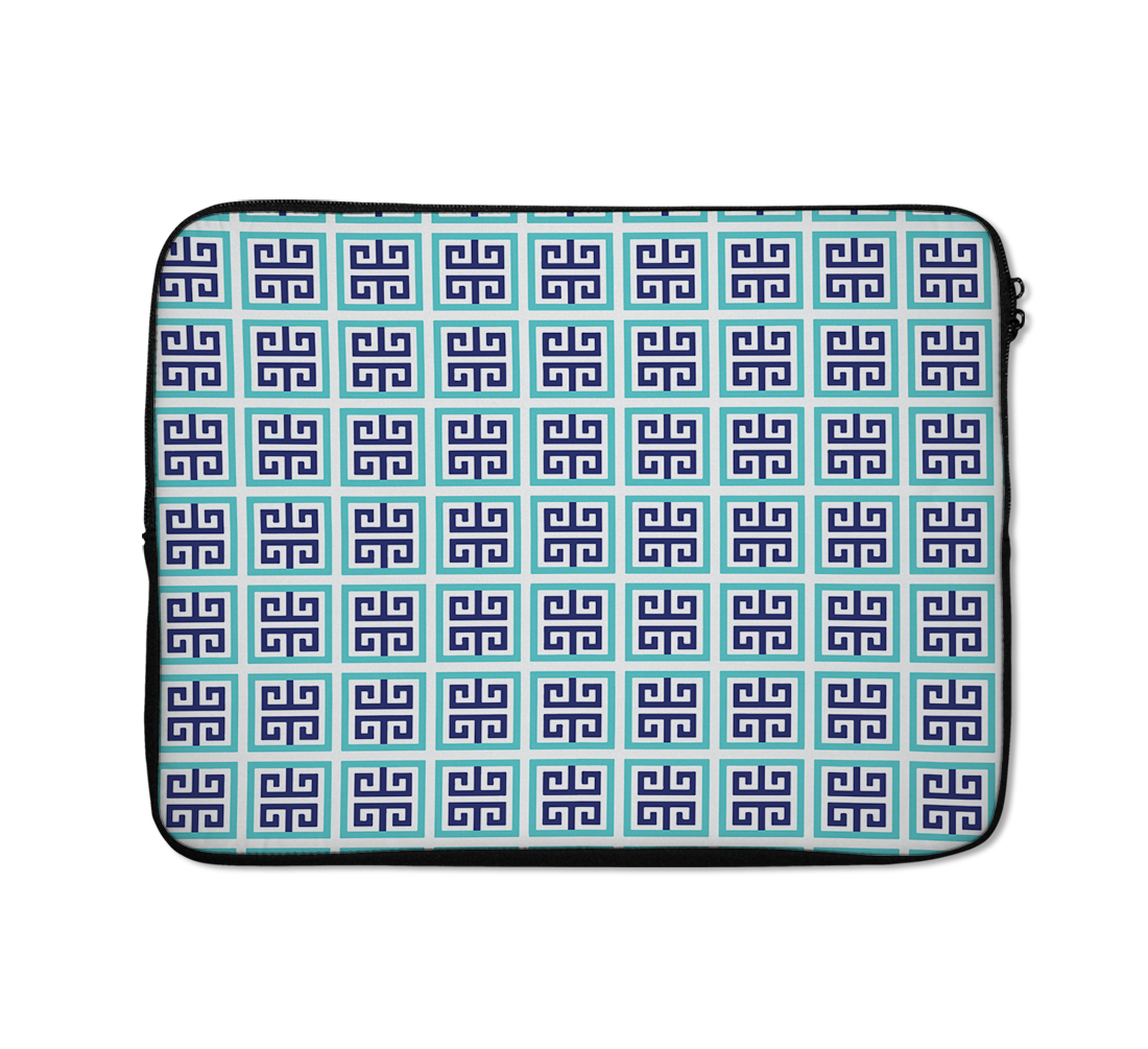 Geometry Architectural Laptop Sleeves Arabic Pattern Laptop Sleeves Bllue And Black