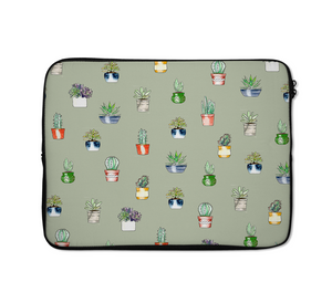 Green Cactus Laptop Sleeves Green Cactus Pattern Laptop Sleeves 13 inch