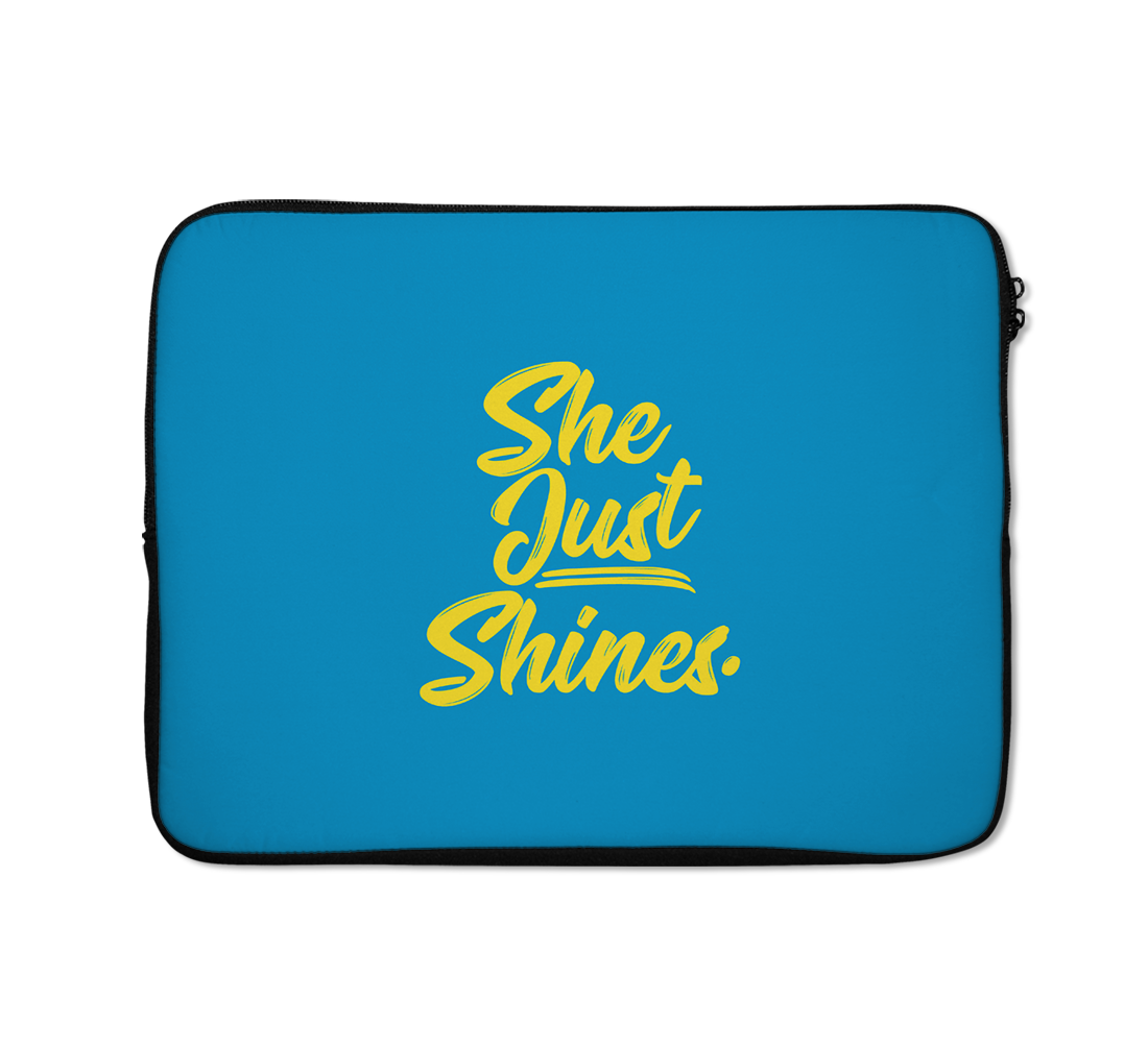 She Just Shines Laptop Sleeves Yellow Typo Laptop Sleeves 13 inch