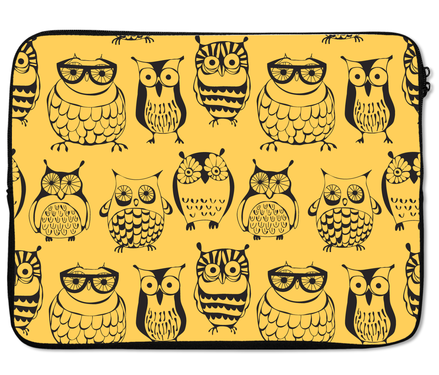 Laptops Tablet Sleeves Nerdy Owls Family Pattern Premium Quality Neoprene Laptop Protection