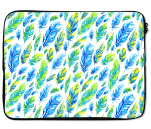 Laptops Tablet Sleeves Blue And Green Cute Feather Pattern Premium Quality Neoprene Laptop Protection