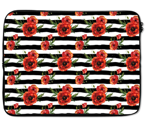 Laptops Tablet Sleeves Black Stripes With Red Poppy Pattern Premium Quality Neoprene Laptop Protection