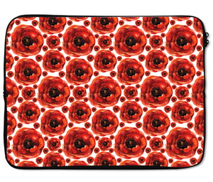 Laptops Tablet Sleeves Lovely Red Floral Poppy Pattern Premium Quality Neoprene Laptop Protection