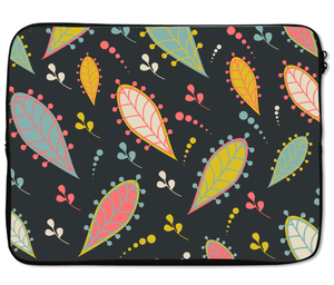 Laptops Tablet Sleeves Vibrant Black Paisley Leaves Pattern Premium Quality Neoprene Laptop Protection