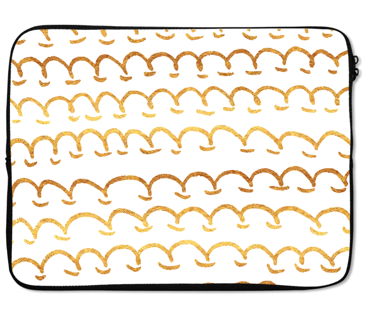 Laptops Tablet Sleeves Golden Waves Pattern Premium Quality Neoprene Laptop Protection
