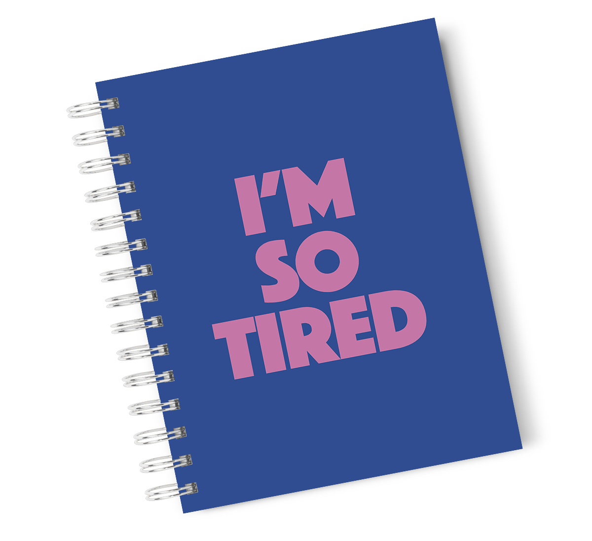 A4 Hardcover Notebook Tired Typography Purple Spiral Notebook with High Quality Bright White Paper