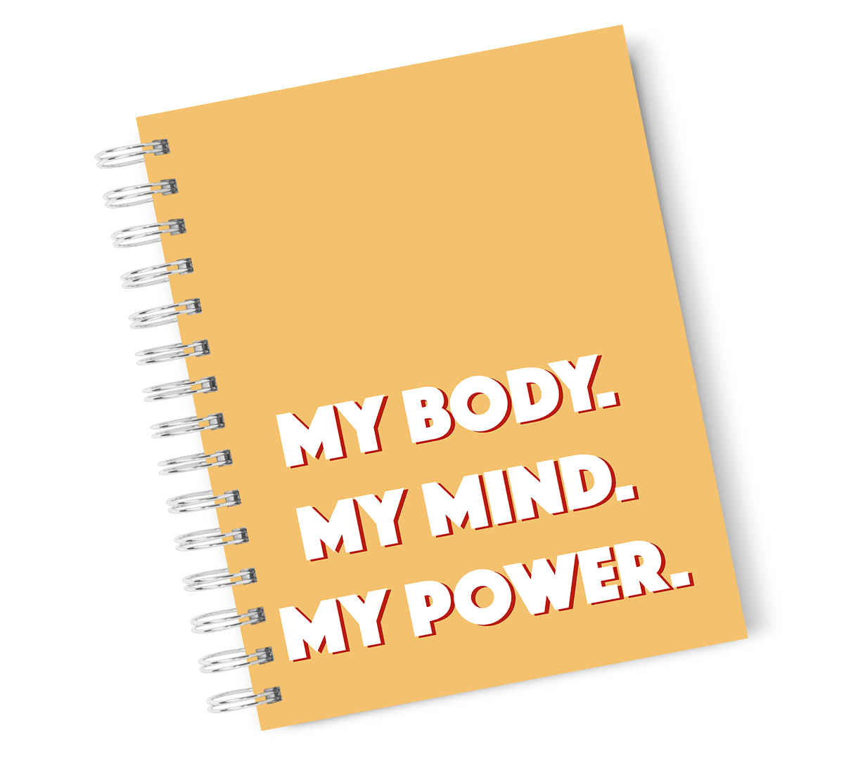 A4 Hardcover Notebook My Body Inspirational Mind Power Spiral Notebook with High Quality Bright White Paper