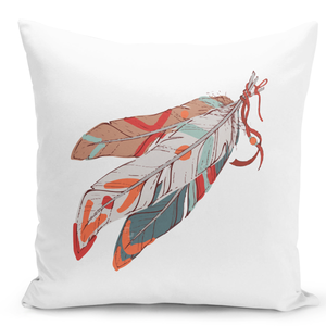 White-Throw-Pillow-Native-Indian-Style-Tribal-Feather-Print---Pure-White-Printed-16-x-16-inch-Square-Home-Decor-Couch-Pillow-