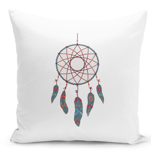 White-Throw-Pillow-Native-Dream-Catcher-Tribal-Indian-Feathers---Pure-White-Printed-16-x-16-inch-Square-Home-Decor-Couch-Pillow-