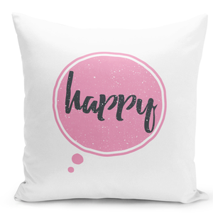 White-Throw-Pillow-Happy-Pink-Girly-Pillow---Pure-White-Printed-16-x-16-inch-Square-Home-Decor-Couch-Pillow-
