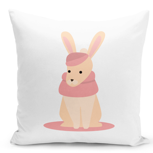 White-Throw-Pillow-Cozy-Winter-Rabbit-Cartoon---Durable-White-16-x-16-inch-Square-Home-Accent-Pillow-Sofa-Cushion-