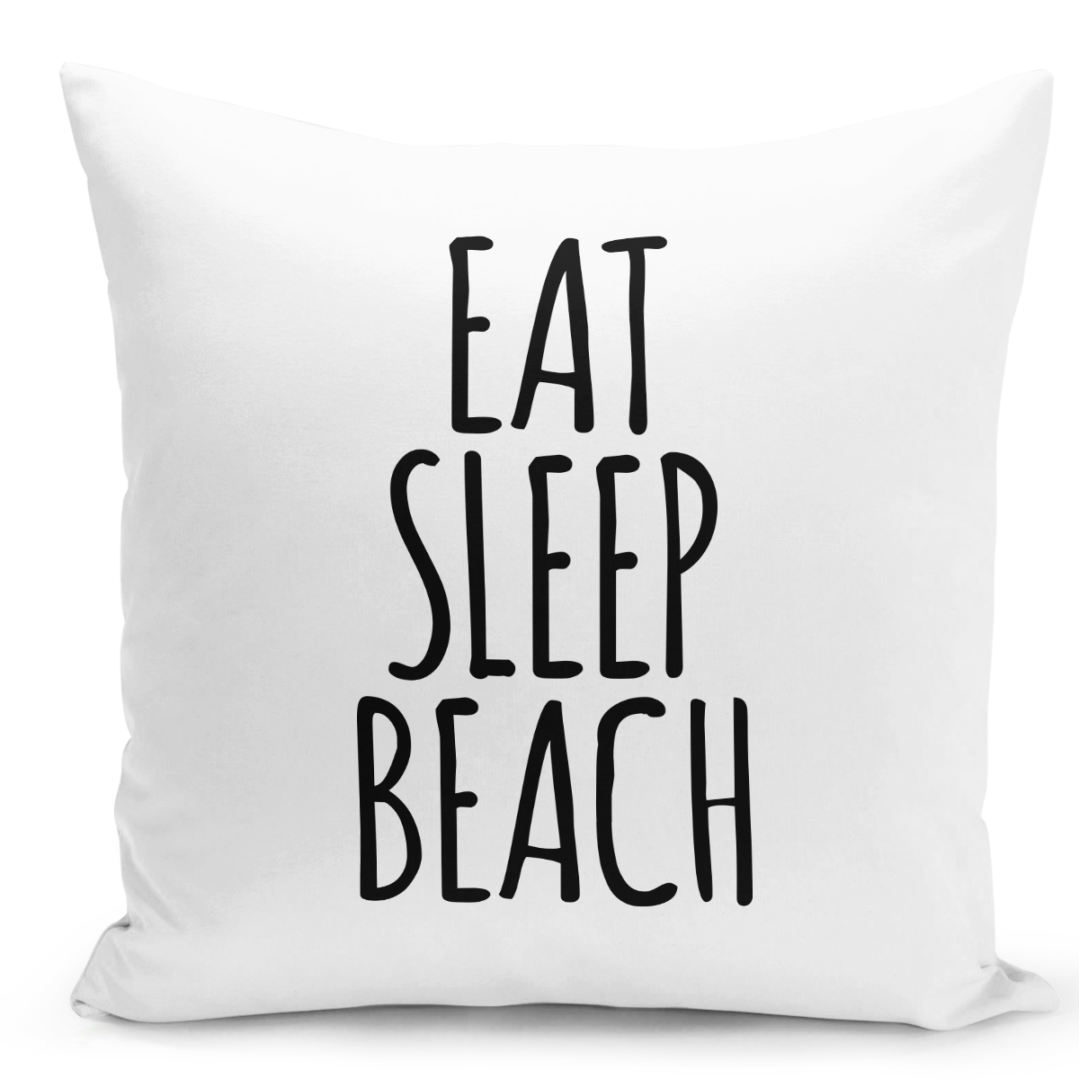 White-Throw-Pillow-Eat-Sleep-Beach-Pillow-Vacation-Home-Pilow---Pure-White-Printed-16-x-16-inch-Square-Home-Decor-Couch-Pillow-