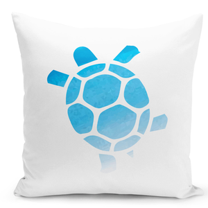White-Throw-Pillow-Water-Color-Turtle-Marine-Aimals-Sea-Life-Pillow---Pure-White-Printed-16-x-16-inch-Square-Home-Decor-Couch-Pillow-