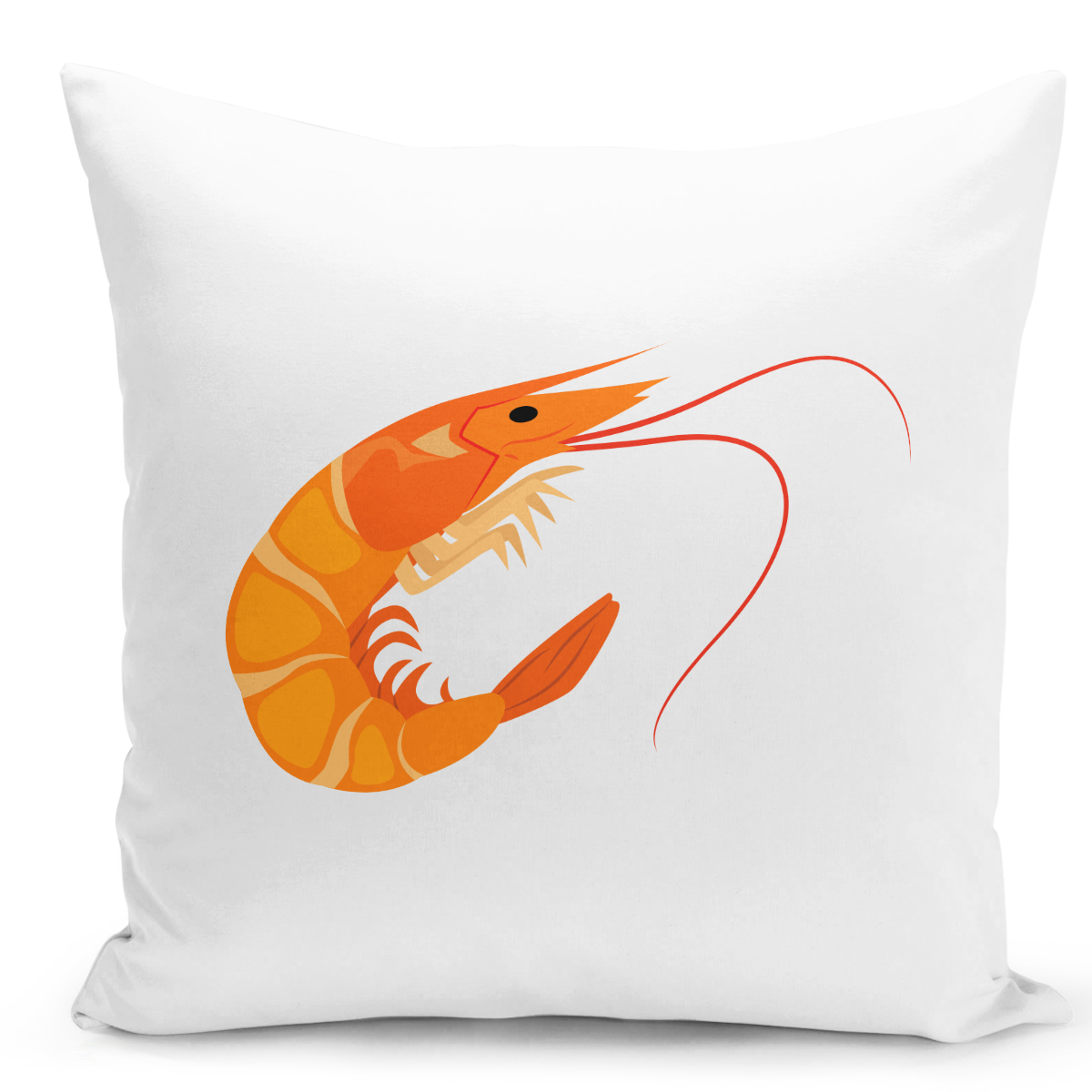 White-Throw-Pillow-Shrimp-Marine-Animals-Sea-Life-Pillow-Nautical-Theme---Pure-White-Printed-16-x-16-inch-Square-Home-Decor-Couch-Pillow-