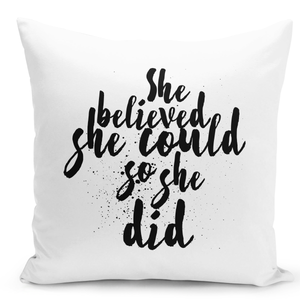 White-Throw-Pillow-She-Believed-She-Could-So-She-Did-Inspirational-Quote-Pillow---Durable-White-16-x-16-inch-Square-Home-Office-Decor-Accent-Pillow-