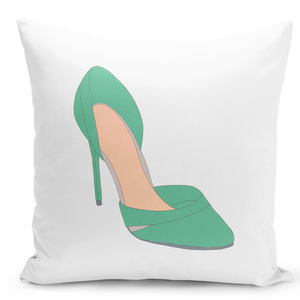 White-Throw-Pillow-Green-Heel-Shoes---Durable-White-16-x-16-inch-Square-Home-Office-Decor-Accent-Pillow-