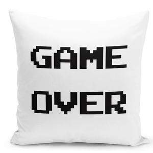 White-Throw-Pillow-Game-Over-Pixel-Old-Vintage-Video-Game---Durable-White-16-x-16-inch-Square-Home-Office-Decor-Accent-Pillow-