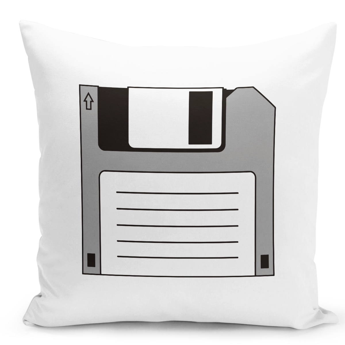 White-Throw-Pillow-Vintage-Old-Floppy-Disc---Durable-White-16-x-16-inch-Square-Home-Accent-Pillow-Sofa-Cushion-