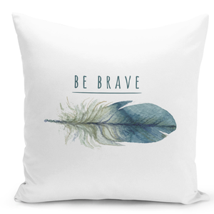 White-Throw-Pillow-Be-Brave-Elegant-Feather-Print-Pillow---High-Quality-White-16-x-16-inch-Square-Home-Office-Decor-Accent-Pillow-