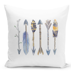 White-Throw-Pillow-Tribal-Feather-Arrow-Collection-Pillow---High-Quality-White-16-x-16-inch-Square-Home-Office-Decor-Accent-Pillow-