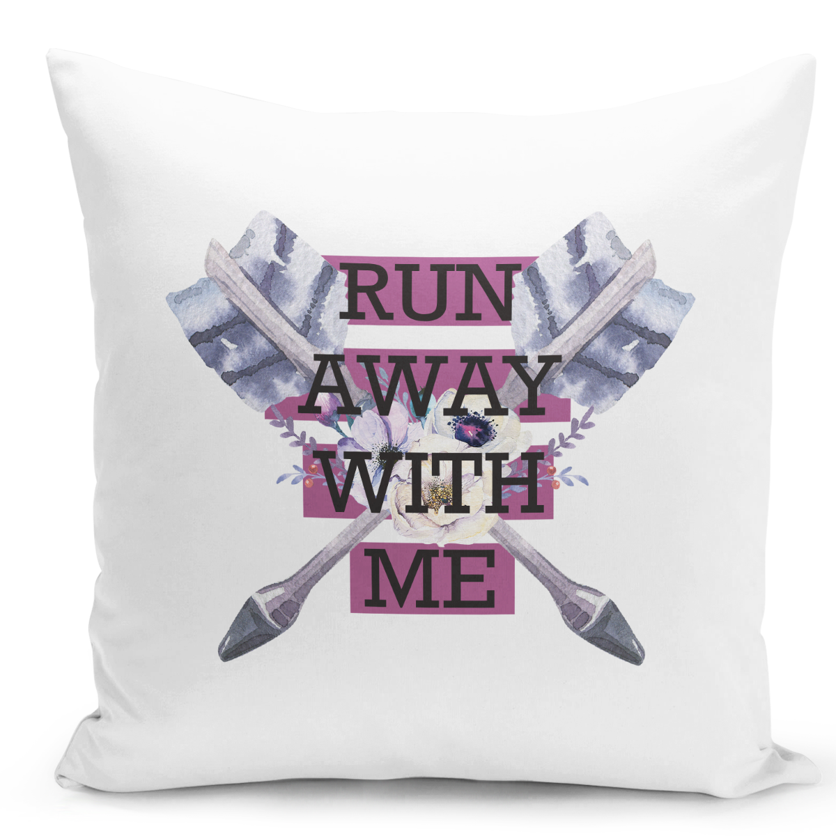 White-Throw-Pillow-Run-Away-With-Me-Feather-Arrow-Pillow---High-Quality-White-16-x-16-inch-Square-Home-Office-Decor-Accent-Pillow-