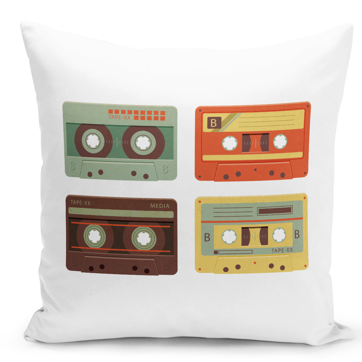 White-Throw-Pillow-Vintage-Cassettes-Collection---Durable-White-16-x-16-inch-Square-Home-Accent-Pillow-Sofa-Cushion-