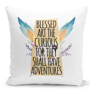 White-Throw-Pillow-Blessed-Are-The-Curious-Tribal-Feather-Teepee-Theme-Pillow---Durable-White-16-x-16-inch-Square-Home-Accent-Pillow-Sofa-Cushion-