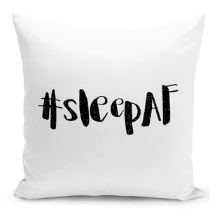 White-Throw-Pillow-Hashtag-Sleep-AF-#Sleefaf---Colorful-With-White-16-x-16-inch-Square-Home-Accent-Pillow-Sofa-Cushion-