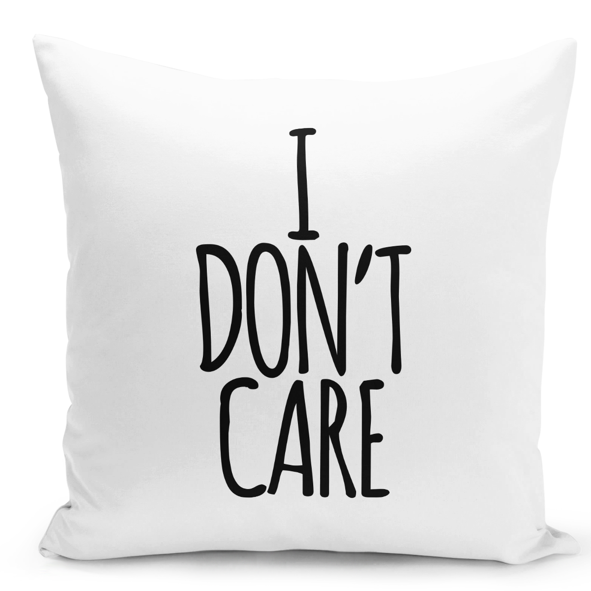 White-Throw-Pillow-i-Dont-Care---Durable-White-Polyester-16-x-16-inch-Square-Modern-Home-Decor-Printed-Pillow-