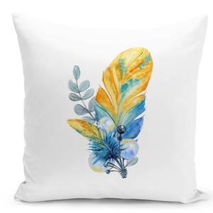 White-Throw-Pillow-Elegant-Cute-Feather-Bouquet-Pillow---Durable-White-Polyester-16-x-16-inch-Square-Modern-Home-Decor-Printed-Pillow-
