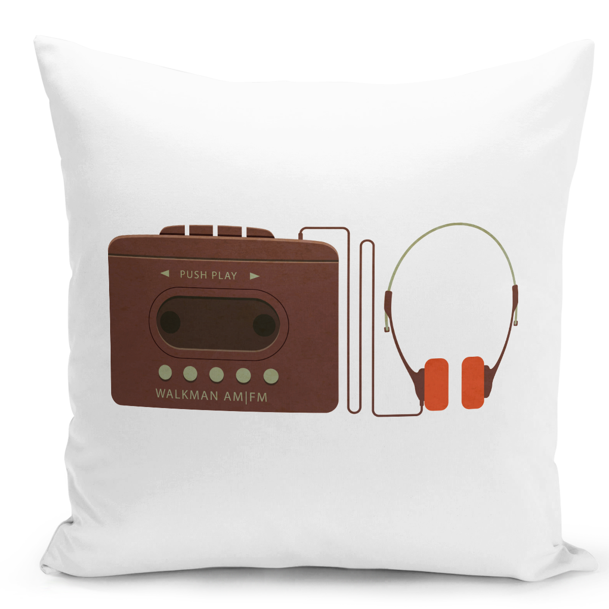 White-Throw-Pillow-Vintage-Walkman-And-Headphones---Durable-White-16-x-16-inch-Square-Home-Accent-Pillow-Sofa-Cushion-