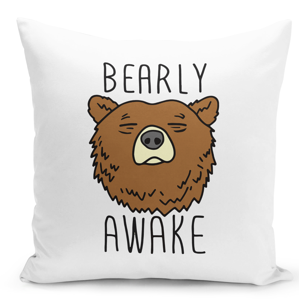 16x16-inch-Throw-Pillow-for-Home-Decor-with-Stuffing-Bearly-Awake-Grizly-Bear-