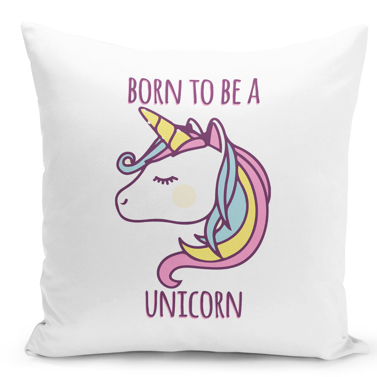 16x16-inch-Throw-Pillow-for-Home-Decor-with-Stuffing-Born-To-Be-a-Unicorn-Colorful-Pillow-