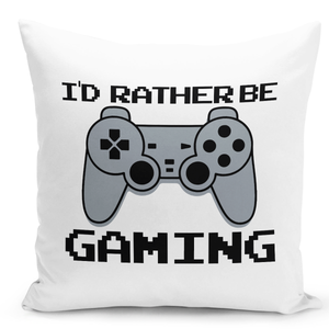 White-Throw-Pillow-I'd-Rather-Be-Gaming-Game-Room-Pilllow---Colorful-With-White-16-x-16-inch-Square-Home-Accent-Pillow-Sofa-Cushion-