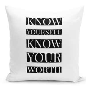 16x16-inch-Throw-Pillow-for-Home-Decor-with-Stuffing-Know-Yourself-Know-Your-Worth-Youth-Quote-Pillow-